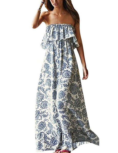 Porcelin Strapless Strapless Boho Maxi + FREE 7 DAY DELIVERY - Folio Trends