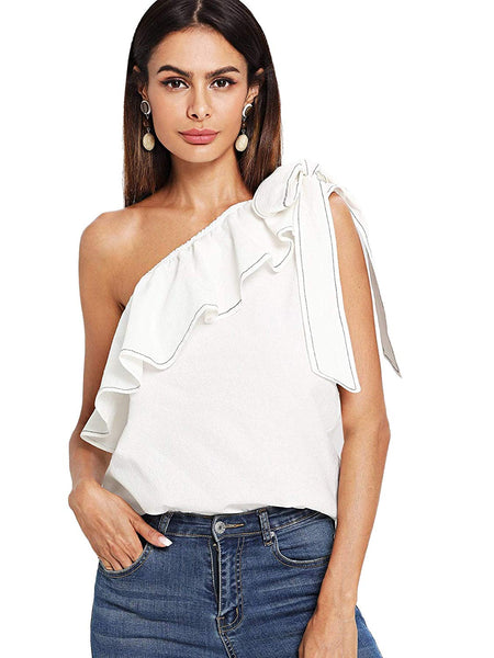 Tie Knot One Shoulder Ruffle Blouse + 1 WEEK FREE SHIPPING - Folio Trends