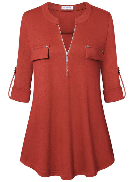 Zip Front V-Neck 3/4 Sleeve Tunic Casual Top - Folio Trends