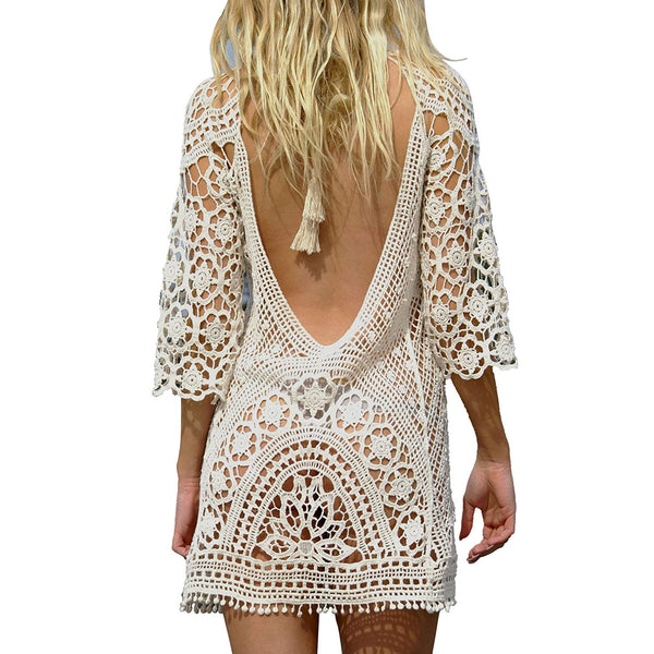 Jessica Crochet Lace Swimsuit Dress - Folio Trends