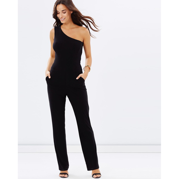 One Shoulder Pantsuit - Black - Folio Trends
