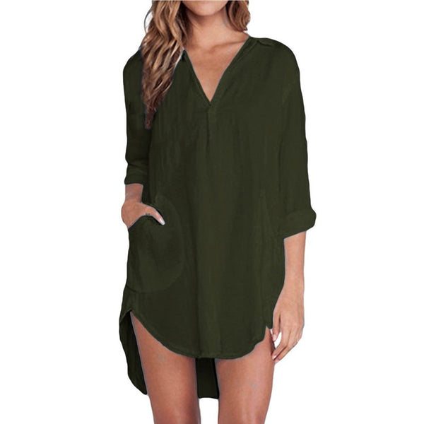 The Button Down Shirt Tunic with Pockets Sizes XS-6XL - Folio Trends