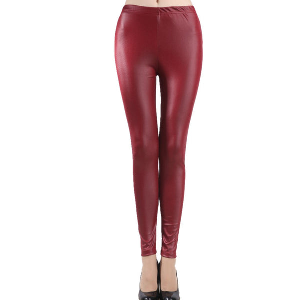 Women's Faux Leather Slim Leggings - Folio Trends