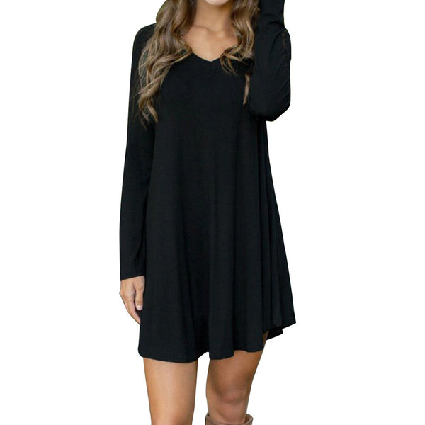 Women's V-Neck Cotton Long Sleeve Casual Tunic - Folio Trends
