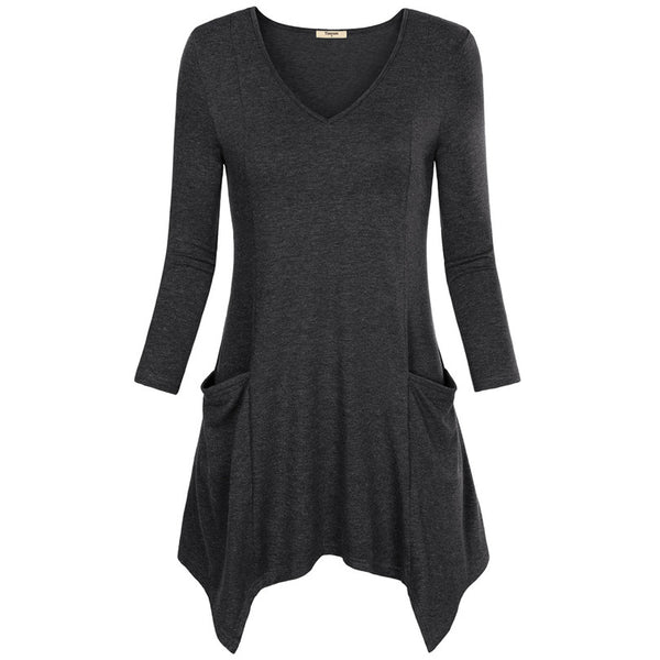 Asymmetrical Hem Tunic with Pockets - Folio Trends