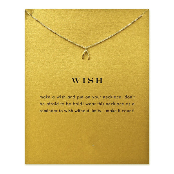 Good Luck Wish Without Limits Sparkling Wishbone Necklace - Folio Trends