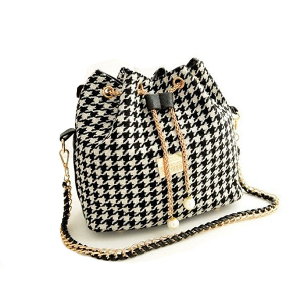 Plaid Cross Body Satchel Purse with Drawstring Closure - Folio Trends