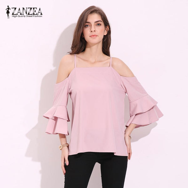 S-5XL ZANZEA Off Shoulder Strappy 3/4 Bell Flare Sleeve Chiffon Blouse - Folio Trends