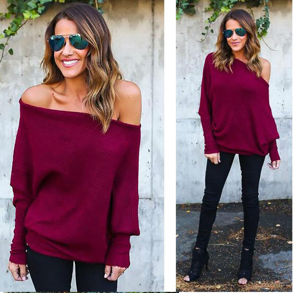 Women's Off The Shoulder Knitted Pullover - Folio Trends