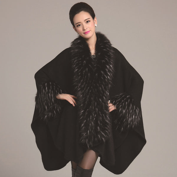 Women's Luxury Faux Fur Collar Cape - Folio Trends