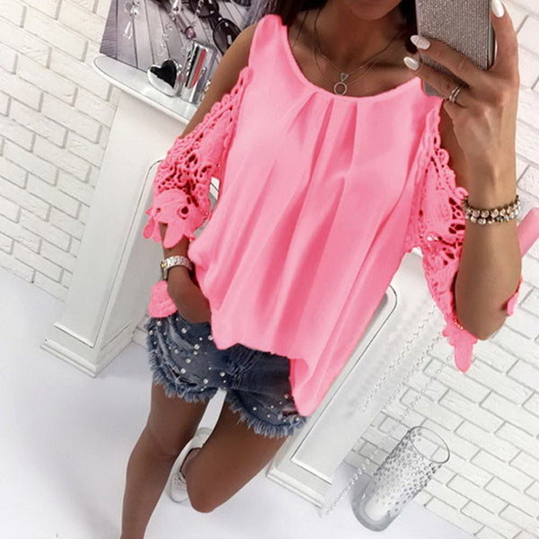 Miami Beach Cold Shoulder Lace Sleeve Blouse - Folio Trends