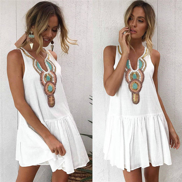 Siesta Key White Ruffle Mini Sundress - Folio Trends
