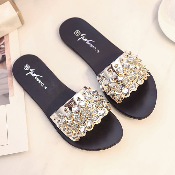 Rhinestone Sandals Slips - Folio Trends