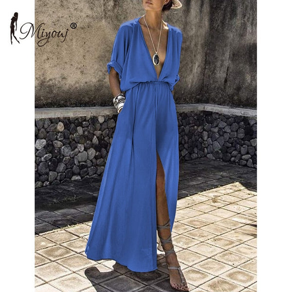 Deep V Neck Beach Maxi with Pockets - Folio Trends