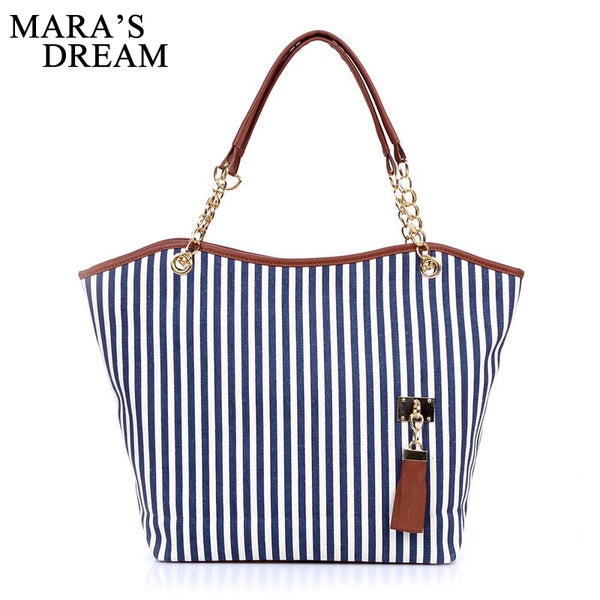 Canvas Beach Bag with Tassel and Chainlink Handles - Folio Trends