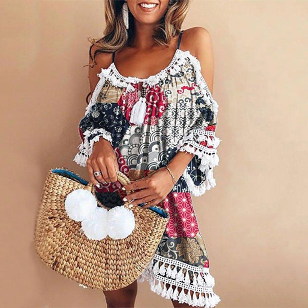 Off Shoulder Boho Tassel Beach Dress - Folio Trends