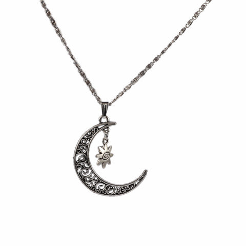"""Jules V"" Silver Moon Steampunk Long Chain Necklace - FREE Shipping"