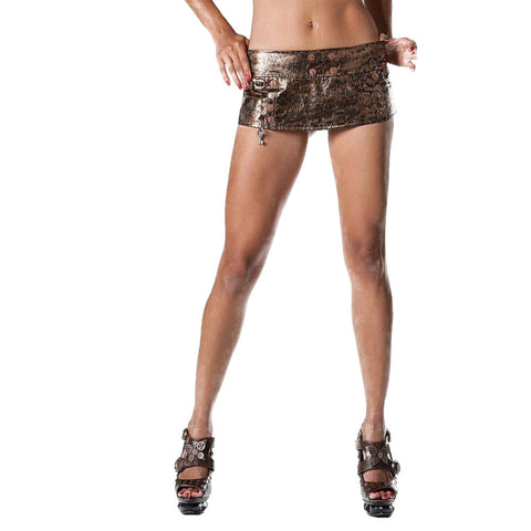 Bedroom Stories Embossed Metallic Skirt With Hanging Charm Lingerie