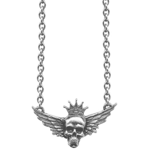 Classic Hardware Skull Wings Sweet & Petite Necklace Silver Crown Punk