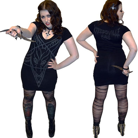 Women's Kreepsville 666 Goathead Dress Black Dark Goth Pentagram Halloween