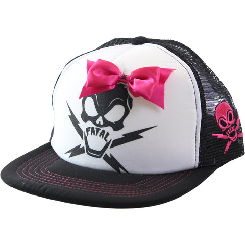 Fatal Bow Trucker Hat Skull With Bow