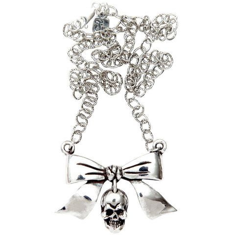 Femme Metale .925 Sterling Silver  Bow With Dangle Skull Necklace