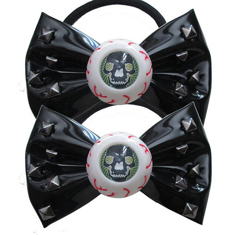 Kreepsville 666 Skull Stud Eyeball Hair Bow Bands Black Horror Halloween