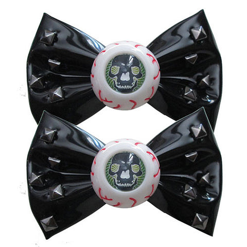 Kreepsville 666 Skull Stud Eyeball Hair Bow Slides Black Horror Halloween
