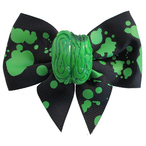 Kreepsville 666 Zombie Brain Hair Bow Green Splatter Horror Halloween