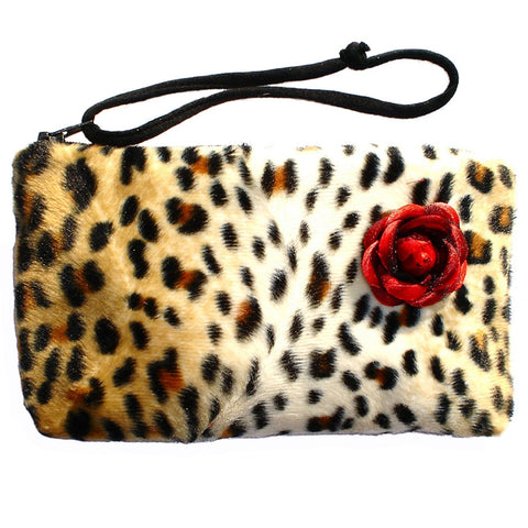 Hemet Cheetah Faux Pinup Wallet Wristlet Animal Print Red Rose Rockabilly