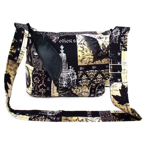 Hemet Edgar Allen Poe Inspired Messenger Bag Black Ravens Spiders Skulls Bats