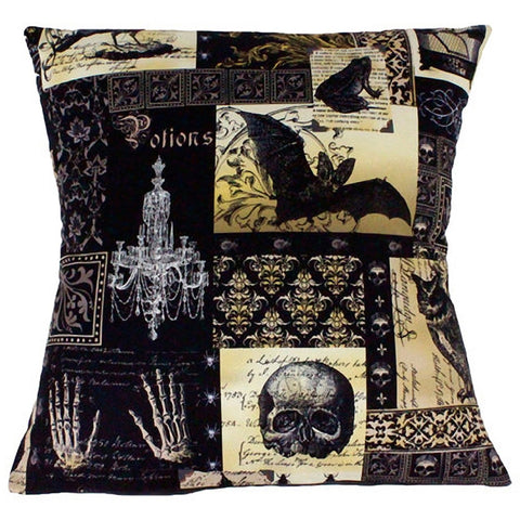Hemet Edgar Allen Poe Inspired Pillow Cover Pillow Case Gothic Skulls Bat