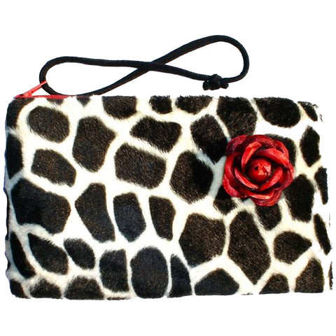 Hemet Giraffe Faux Fur Wallet Wristlet Animal Print Red Rose Rockabilly Pinup