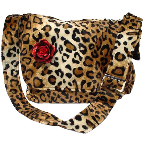 Hemet Rockabilly Faux Leopard Bag with Red Flower Animal Print Retro Vintage