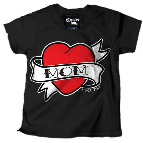 Kid's Cartel Ink Mom Heart Tattoo T-Shirt Black Traditional Flash