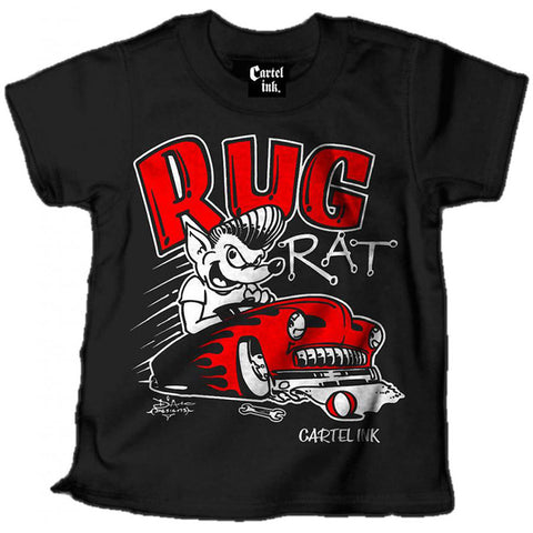 Kid's Cartel Ink Rug Rat T-Shirt Black Rockabilly Pompadour Hot Rod Lead Sled