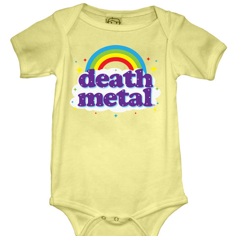Kid's Goodie Two Sleeves Death Metal Baby Onesie Yellow Rainbow Rock Music