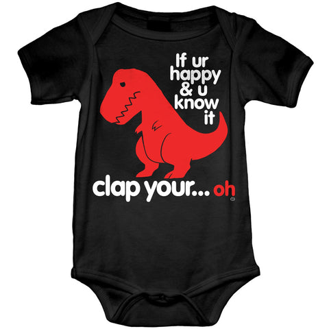 Kid's Goodie Two Sleeves Sad T Rex Dino Baby Onesie Black Funny Dinosaur