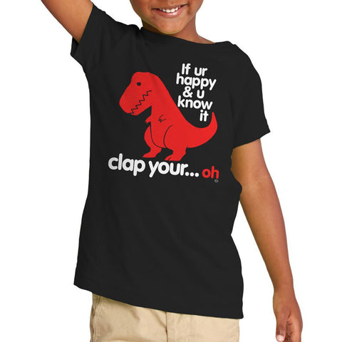 Kid's Goodie Two Sleeves Sad T Rex Dino Toddler T-Shirt Black Funny Dinosaur