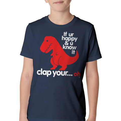 Kid's Goodie Two Sleeves Sad T-Rex Dino Youth T-Shirt Navy Blue Funny Dinosaur