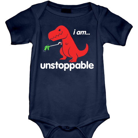 Kid's Goodie Two Sleeves Unstoppable Dino Baby Onesie Navy Blue Funny Dinosaur