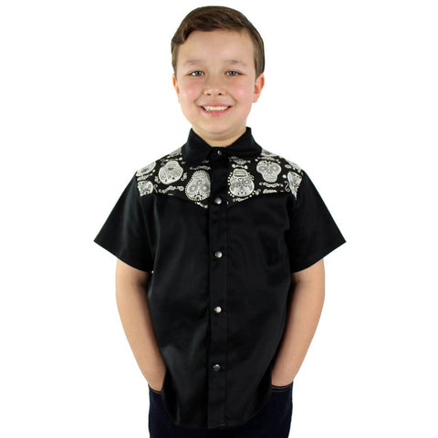 Kid's Hemet Black and White Sugar Skulls Western Top Day of the Dead Rockabilly