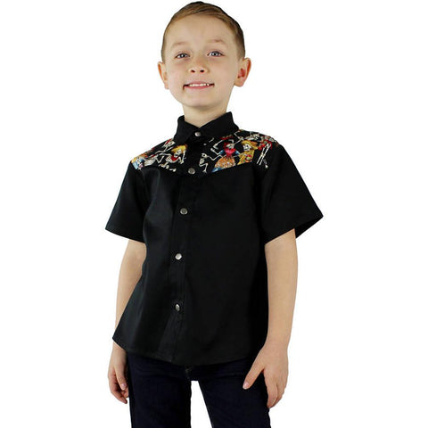 Kid's Hemet Dancing Skeletons Western Top Black Day of the Dead