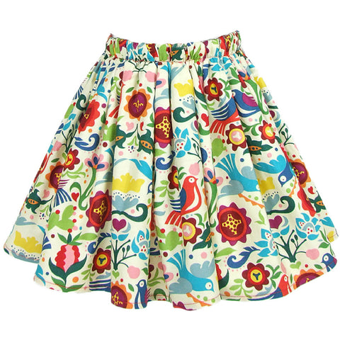 Kid's Hemet Doves And Birds Skirt White Flowers