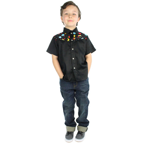 Kid's Hemet Outer Space Snap Top Black Planets Moon Rockabilly