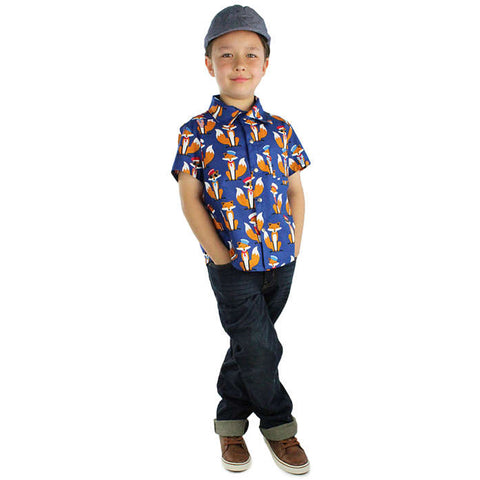 Kid's Hemet So Foxy! Snap Top Blue Sailor Foxes Rockabilly