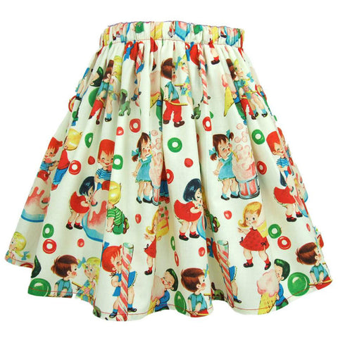 Kid's Hemet Vintage Candy Pleated Skirt Retro Cartoon