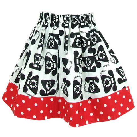Kid's Hemet Vintage Telephone Pleated Skirt Black Polka Dot Retro