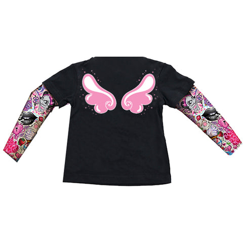 Kid's Lethal Angel Angel Wings T-Shirt Black Tattoo Sleeves