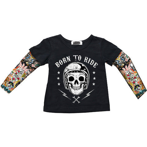 Kid's Lethal Angel Born To Ride T-Shirt Black Skull Helmet Tattoo Sleeves